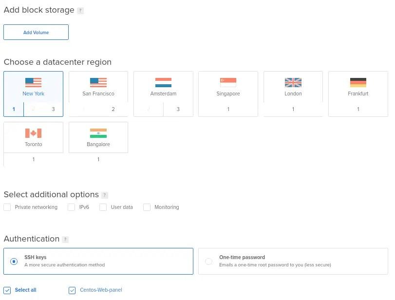 Select server location on Digitalocean