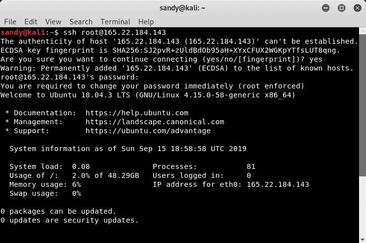 Login to server using SSH
