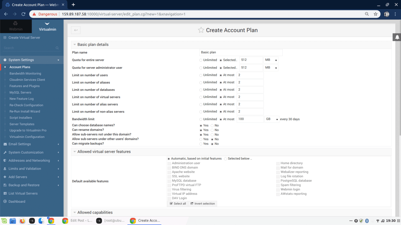 Virtualmin Account Plans
