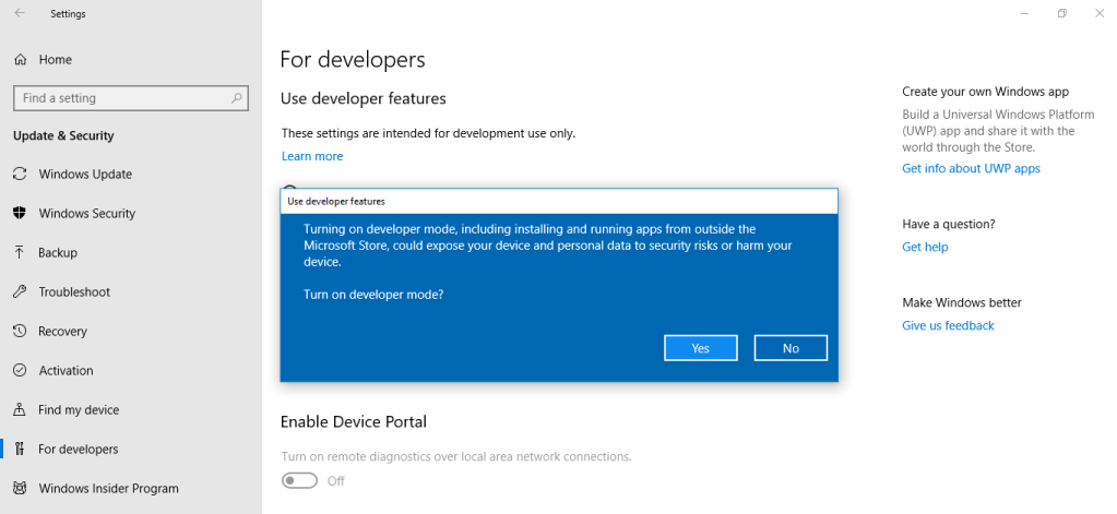 turn on windows developer mode