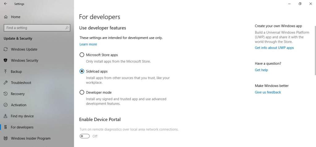 windows developer settings