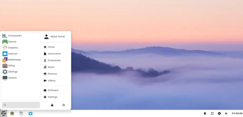 ZorinOS Xfce desktop