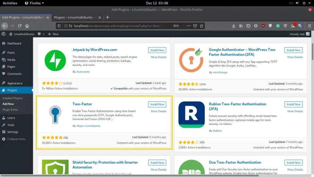 Install Two Factor In WordPress