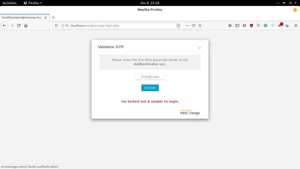 Verify WordPress login