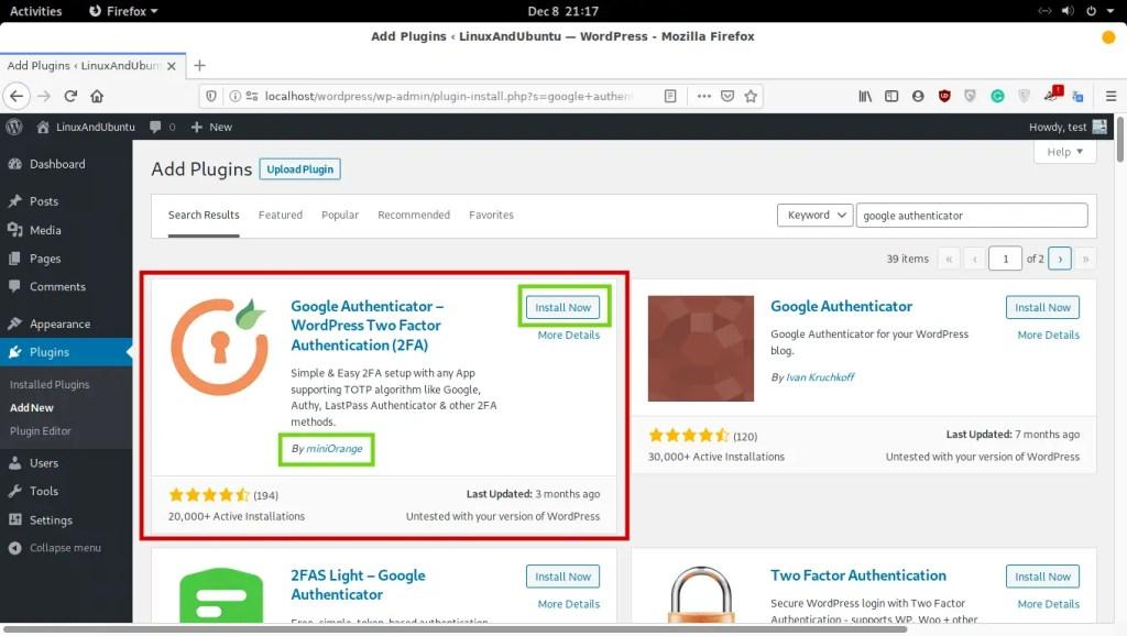 install Google authenticator in WordPress