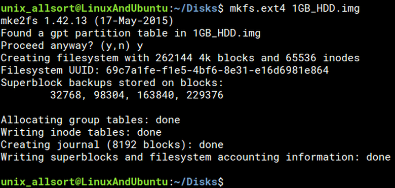 mkfs linux tool