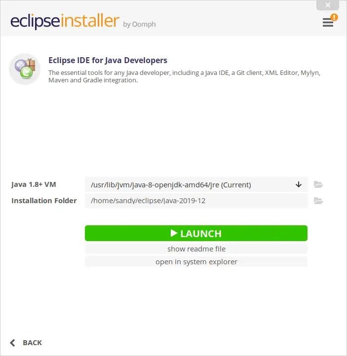 Eclipse IDE for Java developers installed