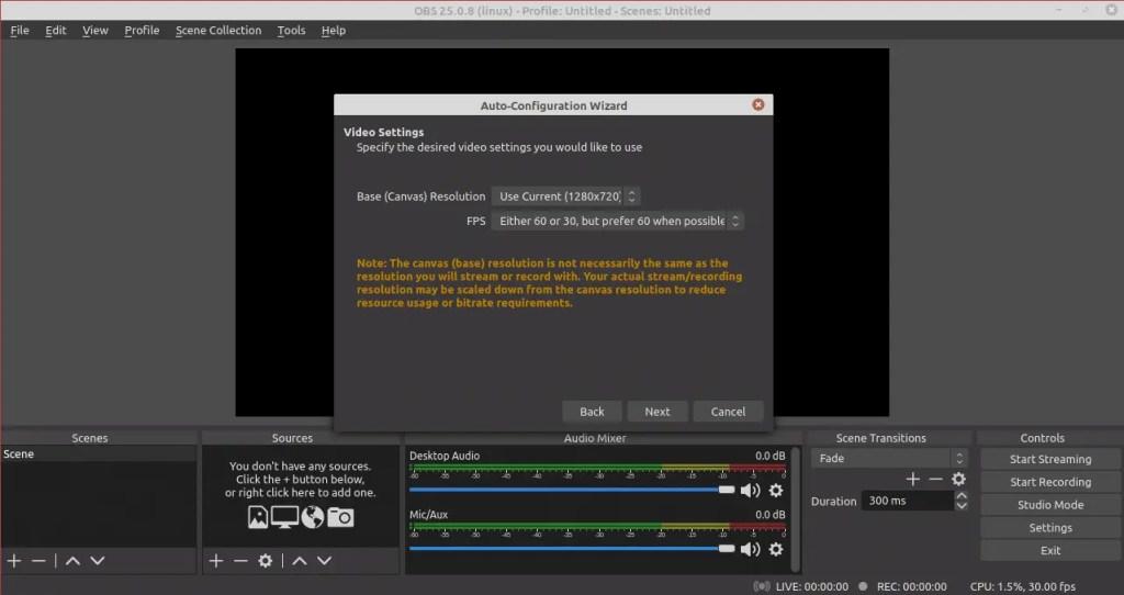 OBS Studio Video settings wizard