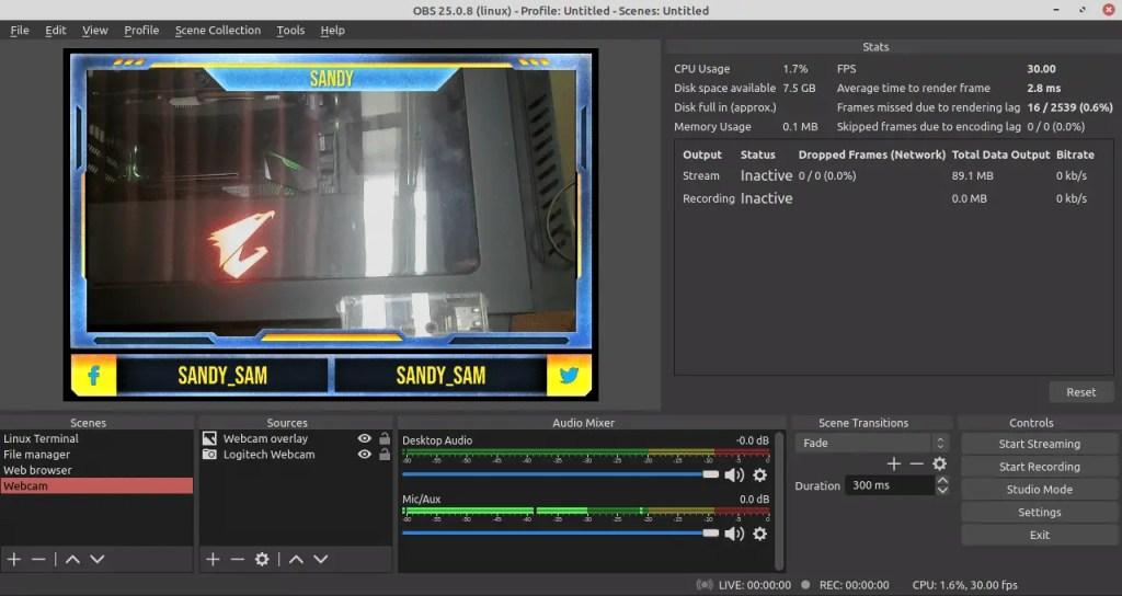 OBS Studio add webcam scene