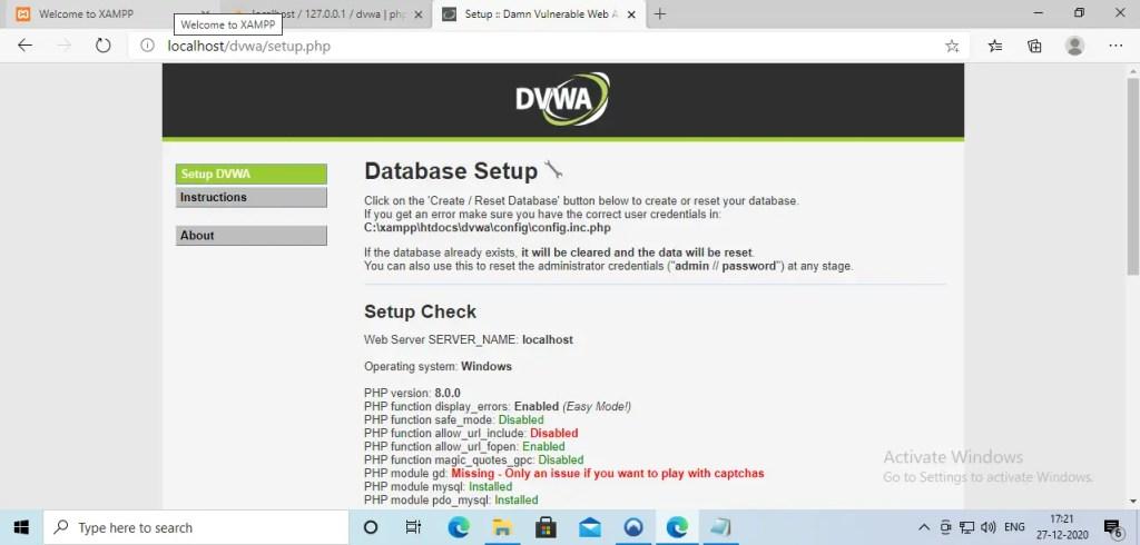 Setup DVWA in Windows