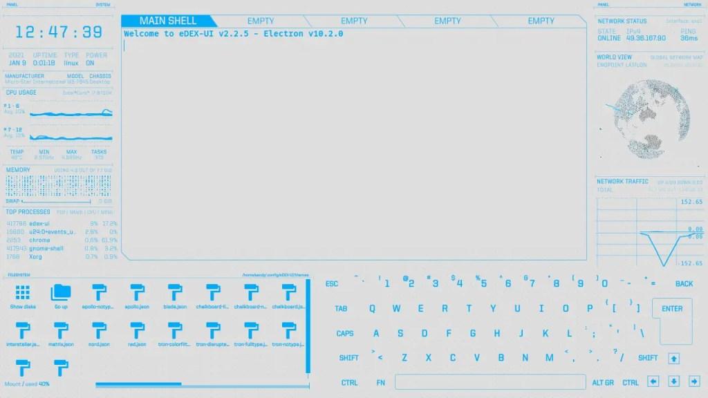eDEX UI intersteller theme