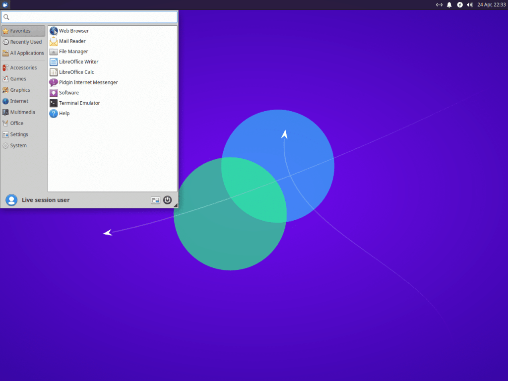 Xfce apps menu