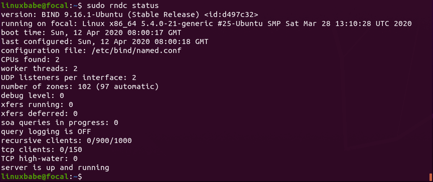 rndc the remote name daemon controller ubuntu 20.04