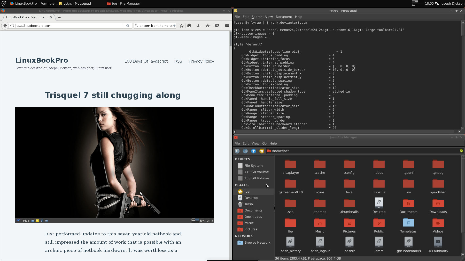 Thunar file manager with Numix icons, Firefox and Mousepad text editor