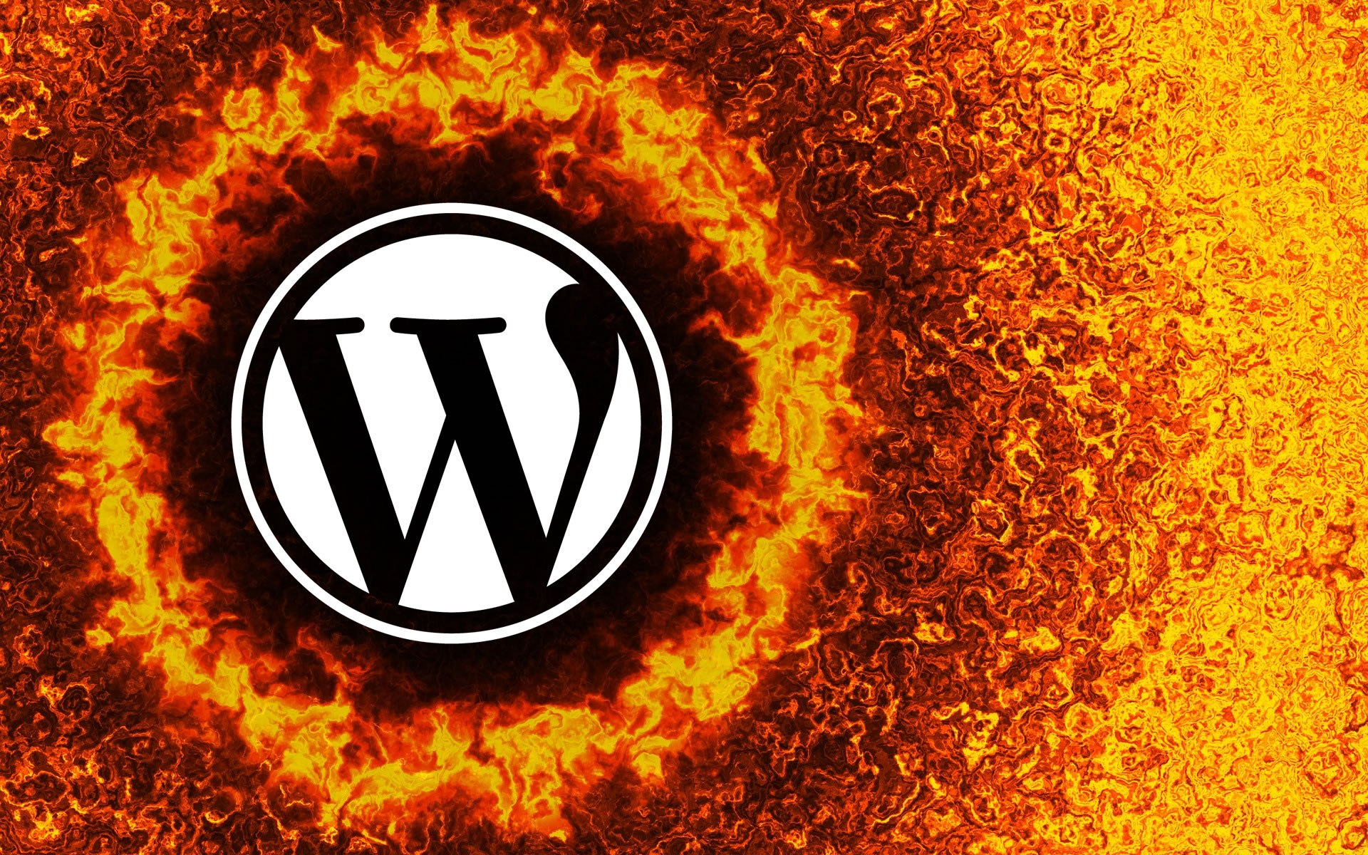 WordPress logo with flames