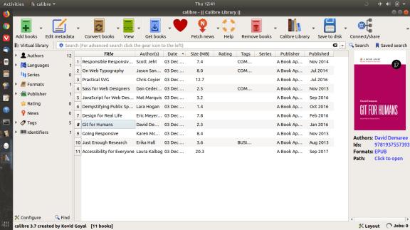 Calibre ebook reader hovering over Git for Humans.