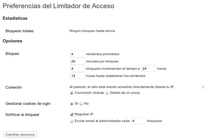 Limit login attempts configuración
