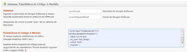 Configuración WPtouch con Google AdSense y Google Analytics