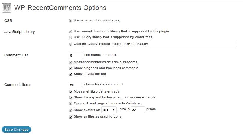 Configuración WP-RecentComments