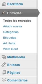 Menú administración WordPress
