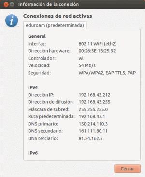 Información conexión WiFi Ubuntu