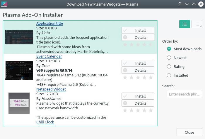 KDE Plasma Add-on Installer