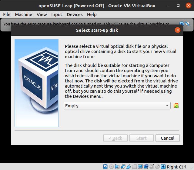 VirtualBox - Set Start Up Disk