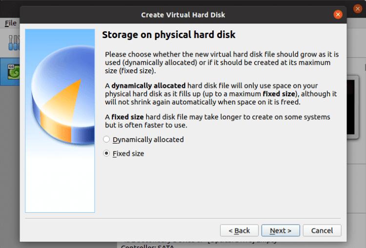 VirtualBox - fixed size hard disk