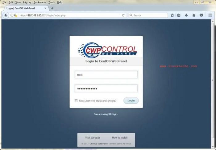 Login-CentOS-WebPanel