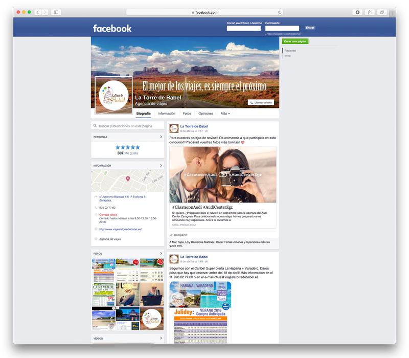 Diseño para Facebook de Viajes La Torre de Babel - Lion Comunicación en Zaragoza