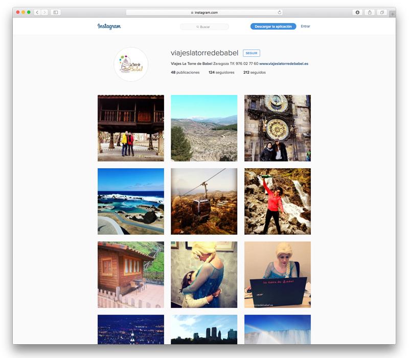 Instagram de Viajes La Torre de Babel - Lion Comunicación en Zaragoza