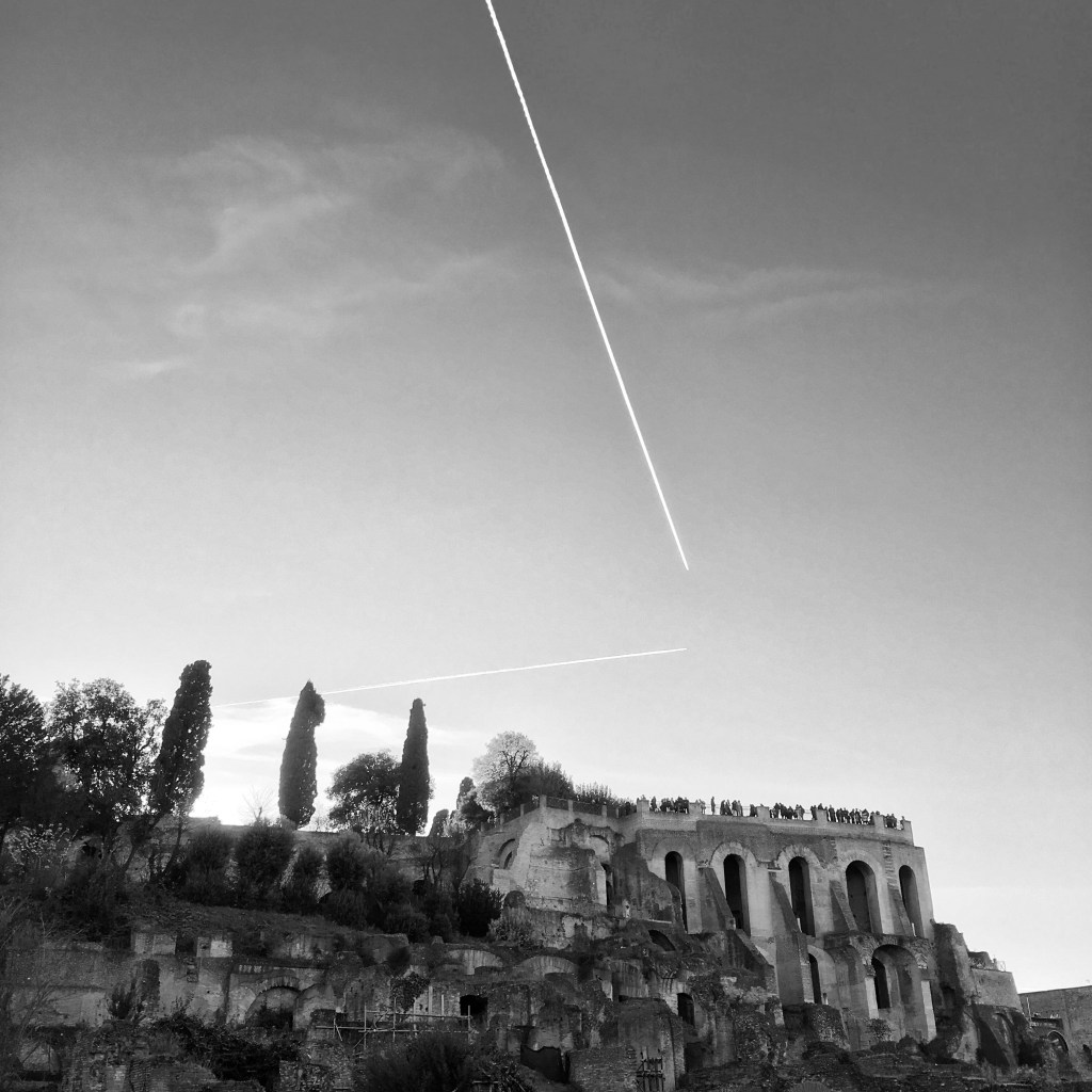 Palatine Hill from Roman Forum with contrails – Black and White