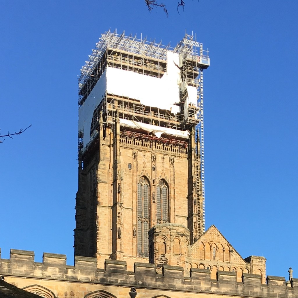 Durham Cathedral under construction