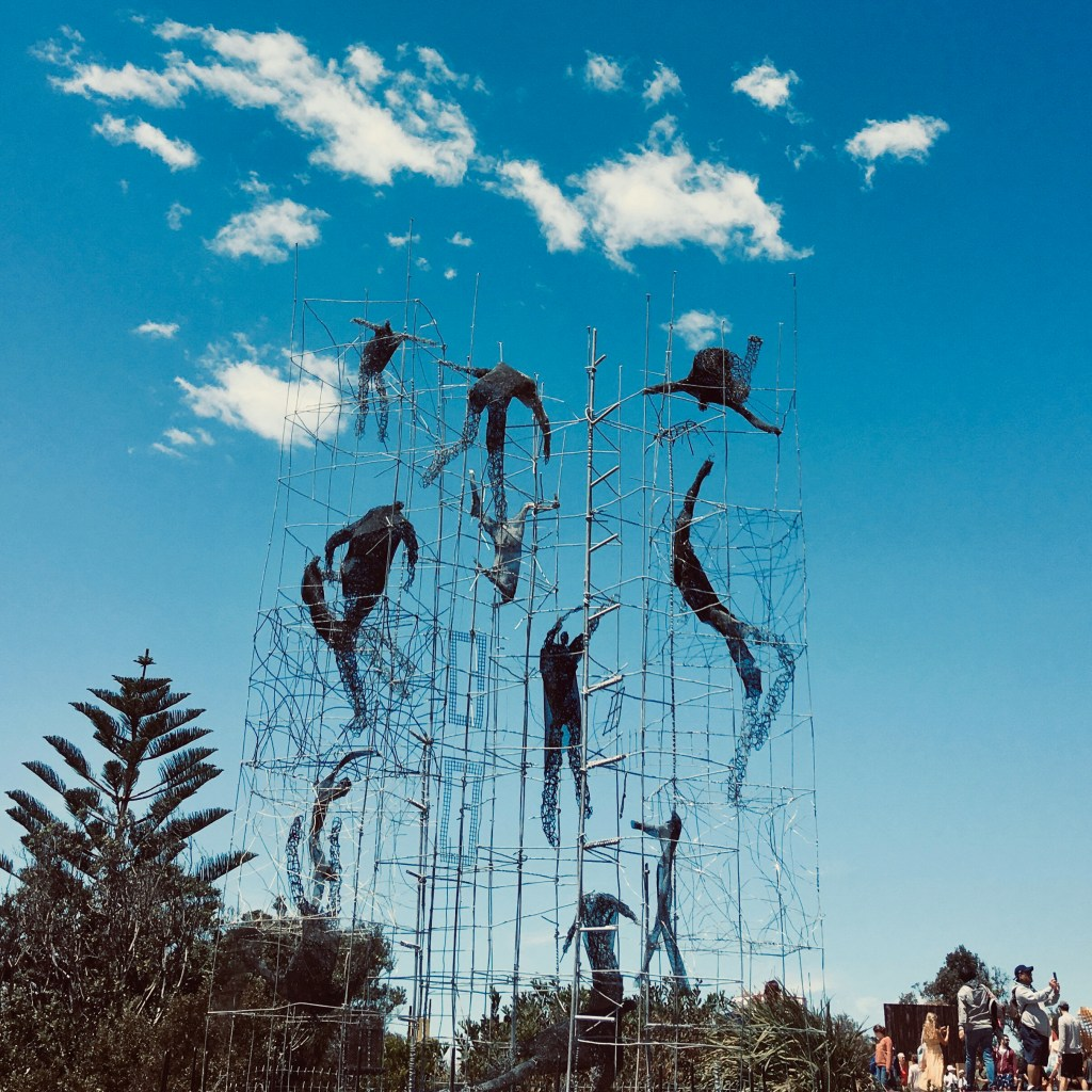 Sculpture of people ascending