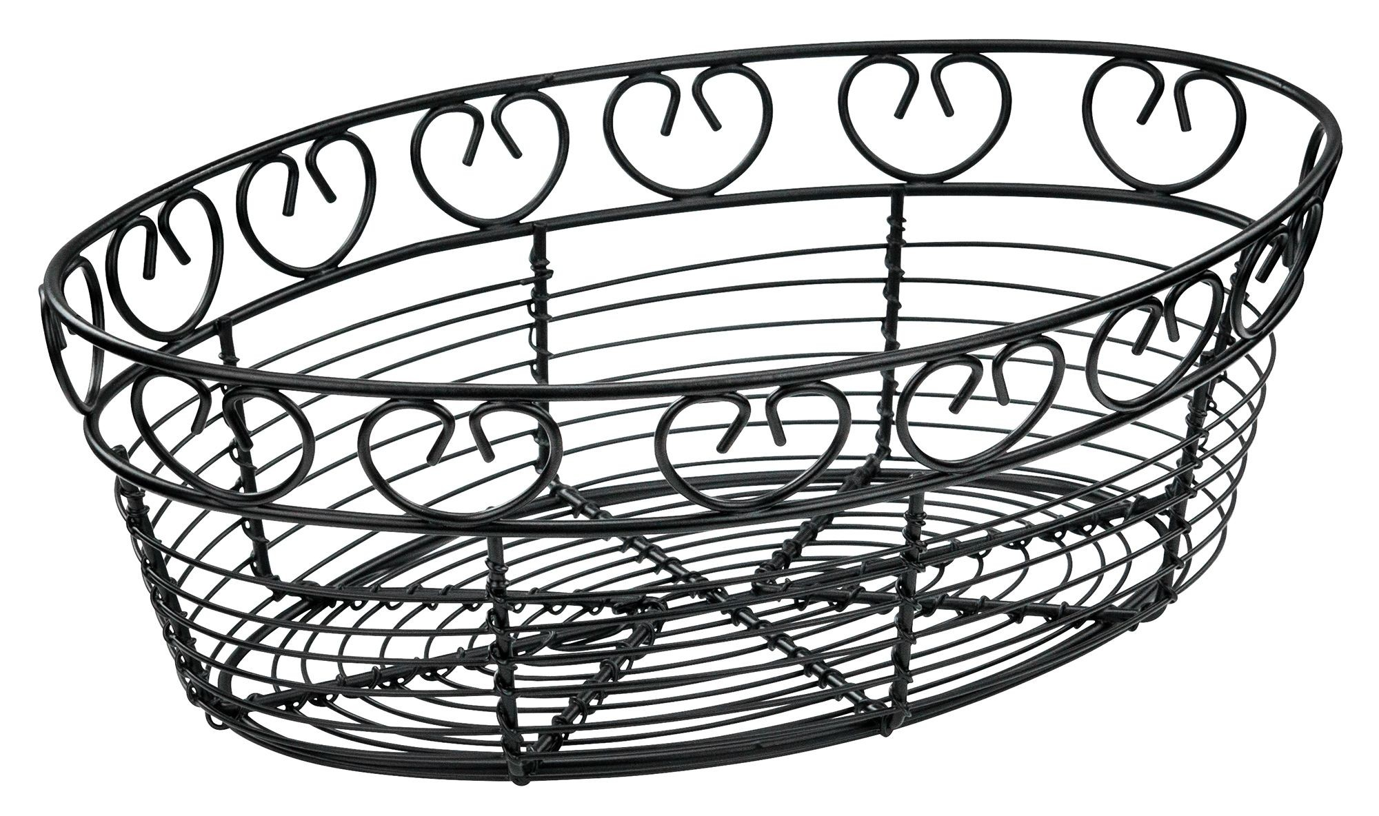 Winco Wbkg 10o Oval Black Metal Wire Bread Basket 10
