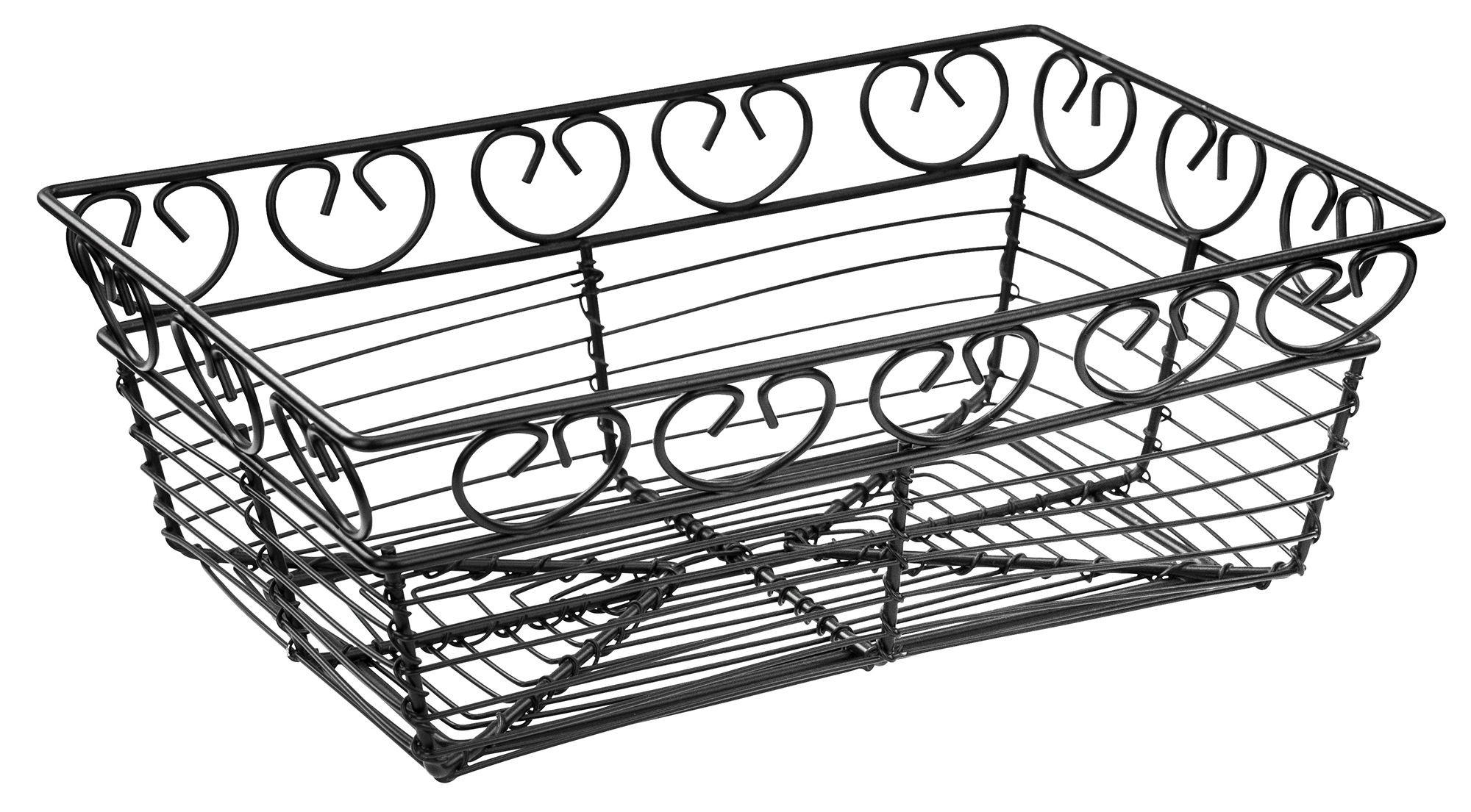 Winco Wbkg 9 Rectangular Black Metal Wire Bread Basket 9