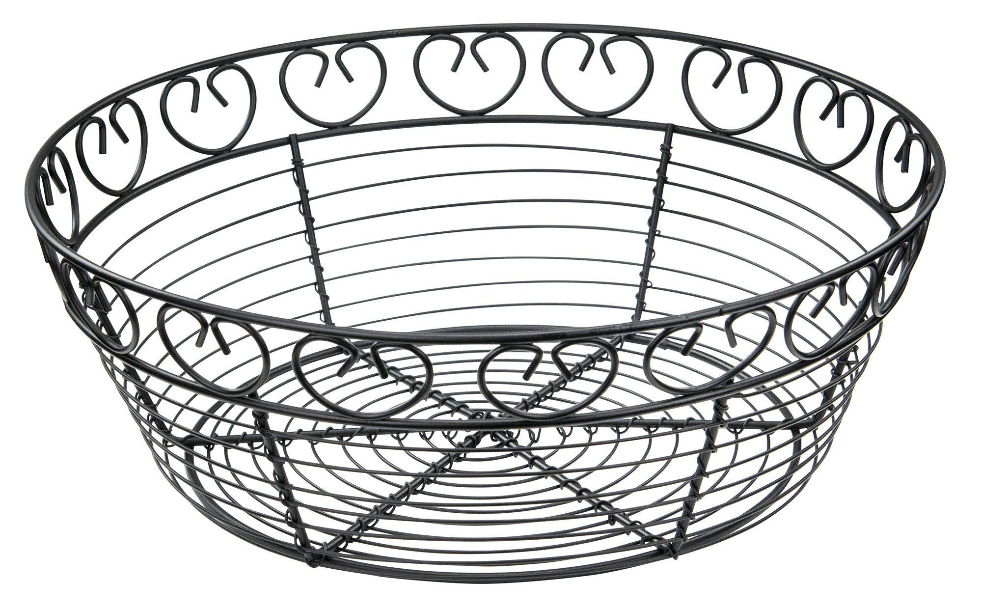 Winco Wbkg 10r Round Black Metal Wire Bread Basket 10