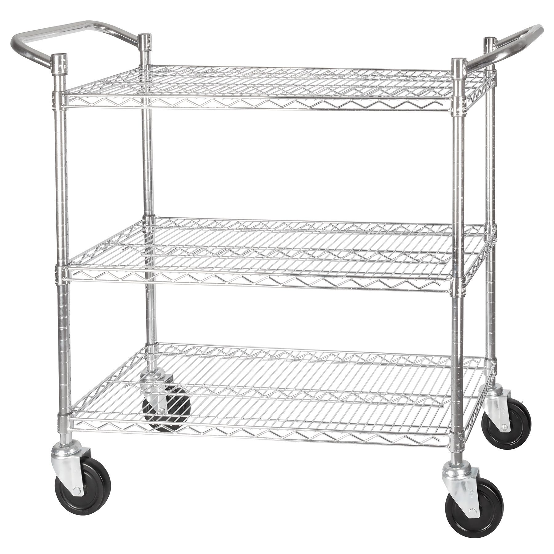Winco Vccd B Chrome Plated 3 Tier Wire Shelving Cart