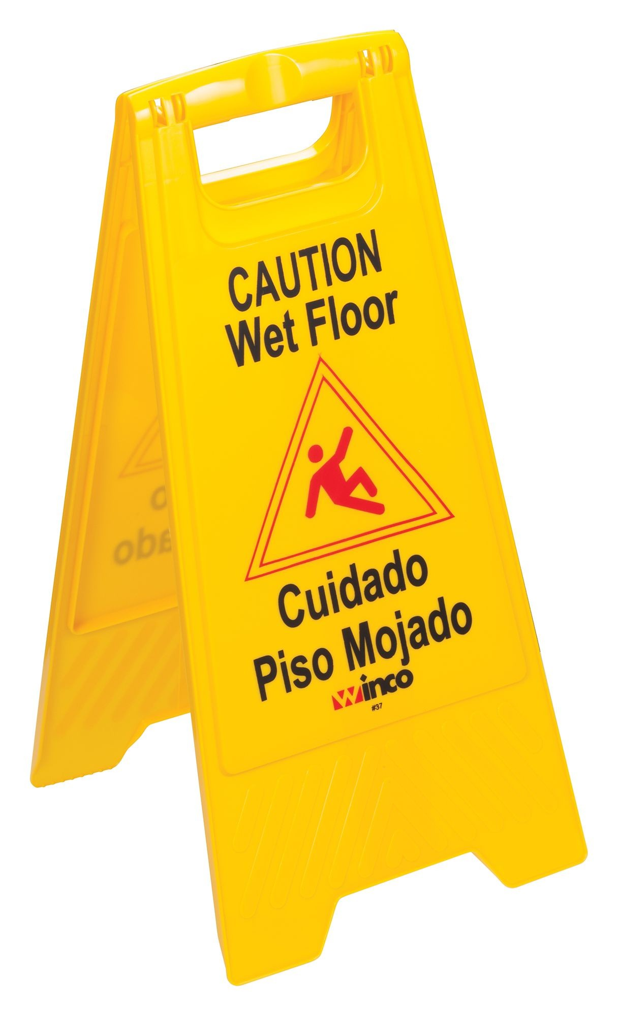 Yellow Two Sided Wet Floor Caution Sign
