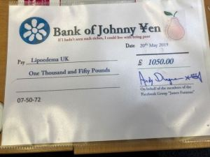James' cheque for £1050
