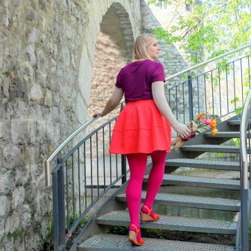 lipoedem mode outfit magenta medi frühling tulpen color blocking plus size curvy