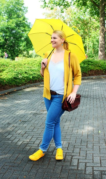 lipoedem mode outfit regentag gelb outfit yellow rain