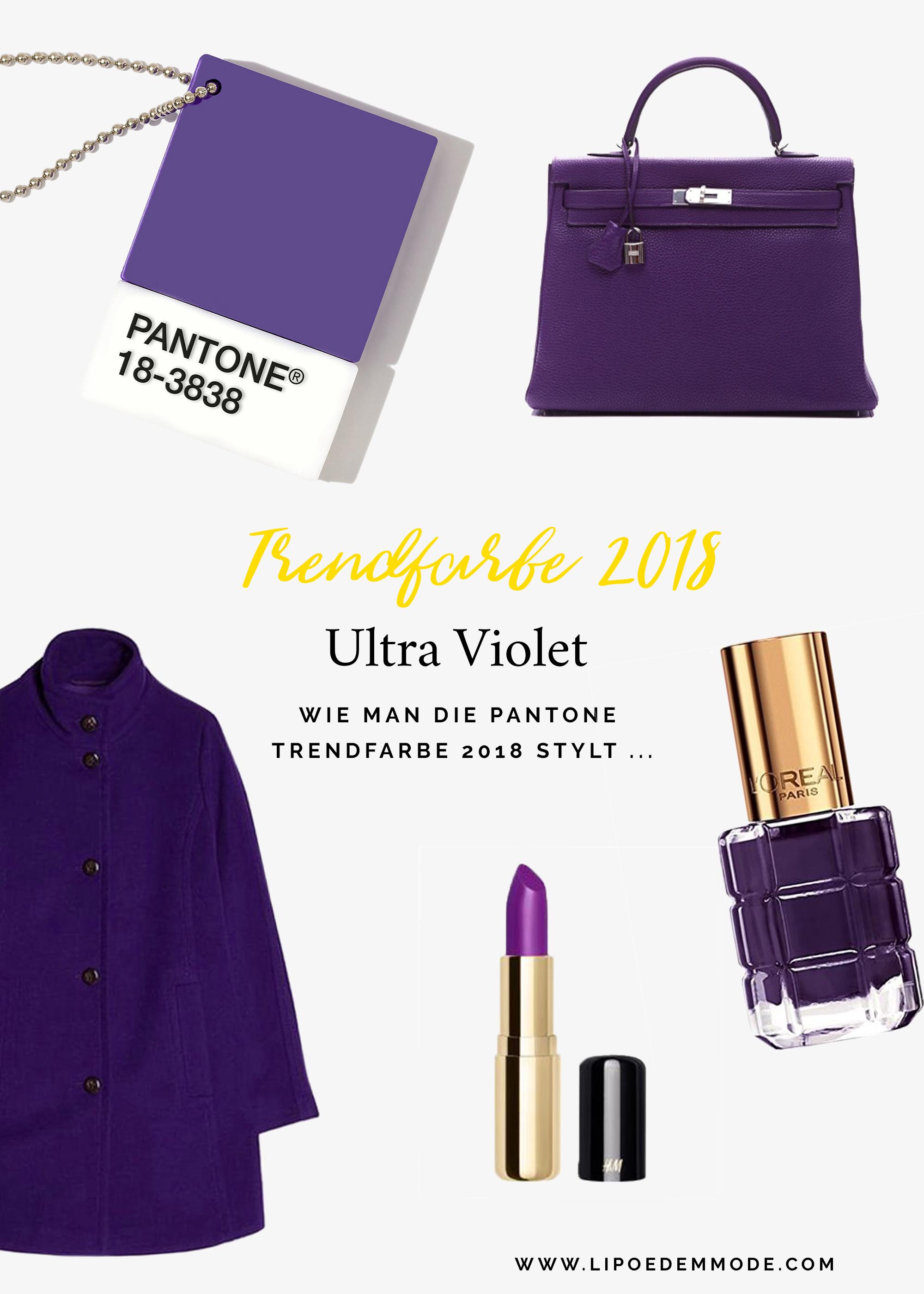 moodboad Ultra Violet ultraviolet lipoedem mode trendfarbe 2018 style mood nagellack lippenstift nail color colour lipstick bag purse handtasche mantel