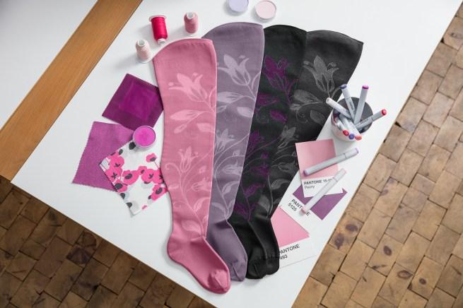 lipoedem mode medi pattern color combinations purple pink flower flat knit flatknit lipoedema lymphedema lymphoedema lipodema