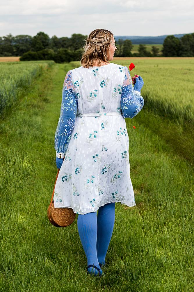 Lipödem Mode Outfit Jeansblau Plus Size Sommerkleid Caroline Sprott
