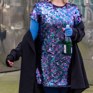 lipoedem fashion party plus size outfit sequins medi marine denim blue compression mediven 550 caroline sprott