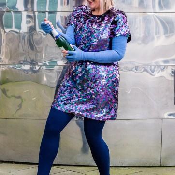 lipoedem fashion new year's eve plus size outfit sequins medi marine denim blue compression mediven 550 caroline sprott
