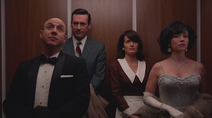 Don and Diana in the elevator with Arnie and Sylvia Rosen