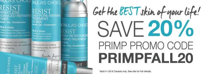Paula's Choice & PRIMP - 20% off
