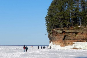 Apostle Islands ice caves with Sand Island in the distance